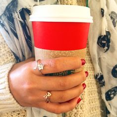 The perfect accessories to every Starbucks red cup are the Ivy Wrap Ring & Stack Rings! Fall necessities - sorority style.