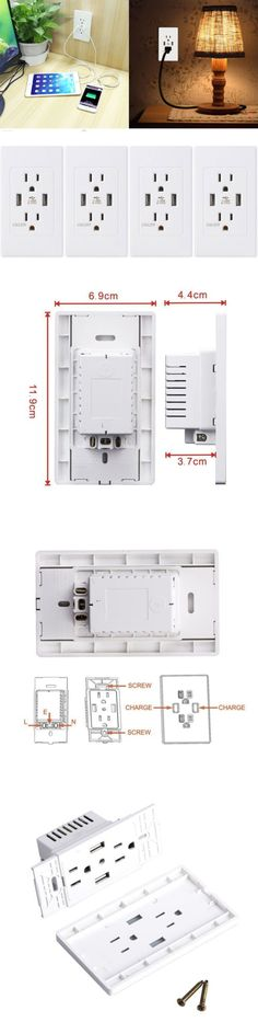 Outlets and Receptacles 41985: 3Pk Us Wall Dual Usb Port Charger ...