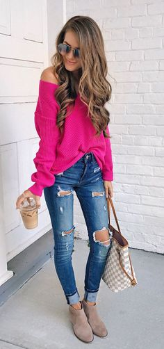 #fall #outfits women's pink off shoulder sweater