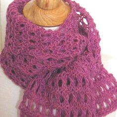Knitting Pattern Heavenly Garter Lace Scarf plus Tutorial DIY.
