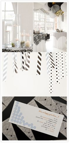 Black and white party decor- deck out entire house in white linens/slipcovers (our just outside/patio area) and use pops of black throughout the white?!