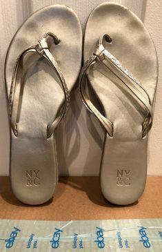 2ef07c3794b43b Womens Silver Leather T-Strap Sandal Flip Flop - Size