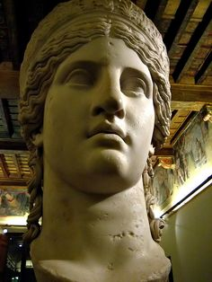 This is the Juno Ludovisi or the Hera Ludovisi, but it probably represents Antonia the Younger, mother of the emperor Claudius. It is a colossal Roman marble head from the 1st century CE.