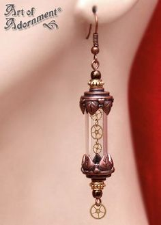 Patina Steampunk Time Capsule Earrings by ~ArtOfAdornment on deviantART.