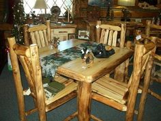 log cabin furniture Kitchen Desks, Kitchen Tables, Log Cabin Kitchens, Log Cabin Furniture, Lodge Decor, Desk Set, Dining Room Table, Rustic, Home
