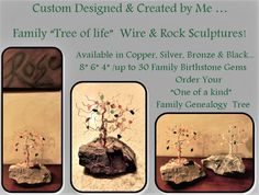 Family tree, birthstones, wire tree, tree of life, tree sculpture,nature Rock Sculpture, Tree Sculpture, Family Name Art, Birthstone Gems, Wire Trees, Tree Tree, Grandmother Gifts, Family Genealogy, Tree Of Life