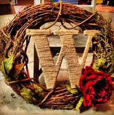 Like Burlap wrapped letter Monogram wreath
