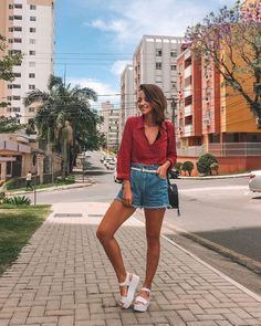 Flatform Sandals Outfit, Girl Fashion, Fashion Looks, Womens Fashion, Short Outfits, Summer Outfits, Brazil Fashion, Europe Outfits, Look Con Short