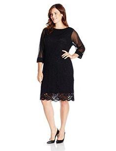 Tiana B Women's Plus-Size Three-Quarter Illusion Sleeve Lace Dress with Scalloped Hem - http://amzn.to/2asDYz7