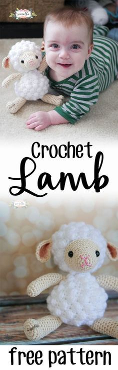 Little crochet lamb amigurumi pattern   perfect for baby showers, new mom gifts, or kids birthdays!   Free pattern from Sewrella