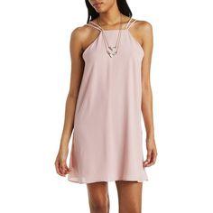 Charlotte Russe Bib Neck Strappy Shift Dress ($27) ❤ liked on Polyvore featuring dresses, blush, crepe shift dress, open back dress, spaghetti strap sundress, pink dress and pink slip dress