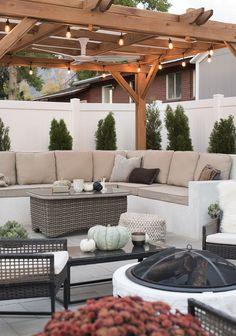Custom outdoor sofa under pergola