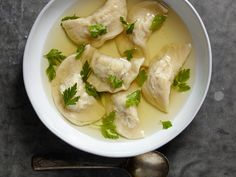 Pelmeni Dumplings in Chicken Broth