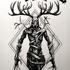Body Art Tattoos, Witcher Art, Nordic Tattoo, Scary Drawings, Witcher Tattoo, Creepy Tattoos, Dark Fantasy Art, Wendigo, Occult Art