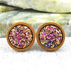 Bridesmaid Earrings  Rainbow Druzy Wood Stud Earrings  Boho | Etsy