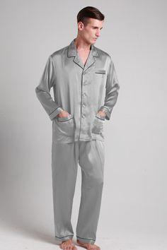 22 Momme Long Silk Pajamas Set with Contrast Trim | Pyjamas, Silk ...