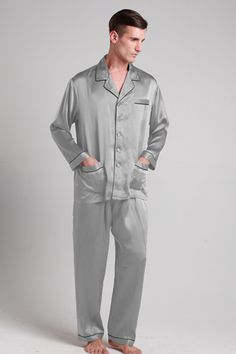 Natural and smooth white silk pajama suit for men are online on