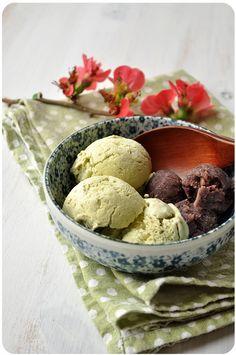 glace au thé matcha maison sans sorbetière, une idée sucrée fraîche et originale pour un dessert d'été, quand il fait bien chaud rien de tel qu'une bonne glace, une jolie présentation et le tour est joué