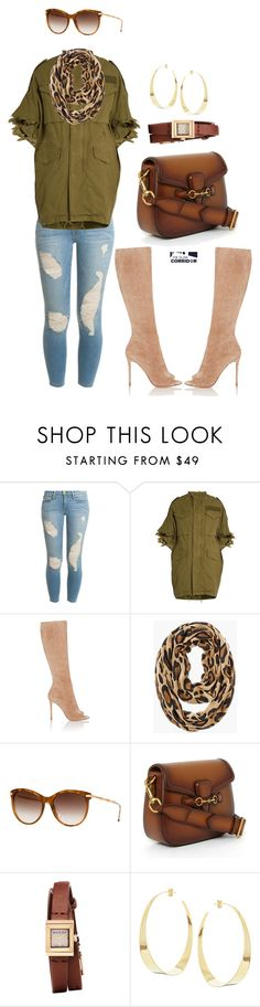 """""""Chic in army green"""" by theglamcorridor ❤ liked on Polyvore featuring Frame Denim, R13, Gianvito Rossi, Chico's, Gucci and Lana"""