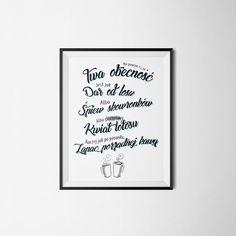 """Book Written Rose: Plakaty z fragmentami piosenek     Poster with quotes song, printable graphic    """"Nie powiem ci, że twa obecność jest jak dar od losu. Albo śpiew skowronków, albo pierdolony kwiat lotosu (Raczej jak) po poranku zapach porządnej kawy."""" Taco Hemingway – Deszcz na betonie"""