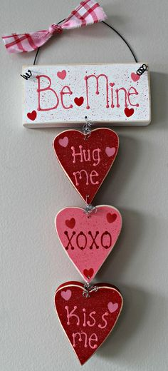 Be Mine Valentine's Day Wooden Hearts Sign by lauraswoodshed, $14.00