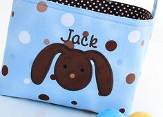 Fabric Easter Basket Bunny Applique blue polka dot by ladesigns2, $25.00