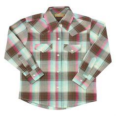Wrangler Girl's Long Sleeve Plaid Print Western Shirt