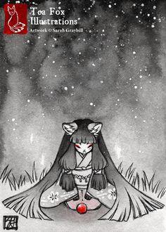 Premio / Fox Kitsune Yokai Japonés estilo / 5 x 7 Fine Art Print