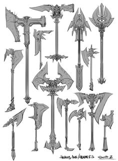 Concept art of Battle Axes from Darksiders 2 by Paul Richards