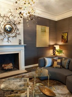 The versatile combination of gray walls and unusual gold accessories give this living room, featured on HGTV.com, an interesting twist.