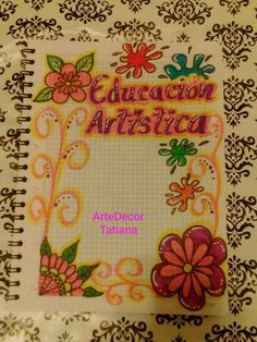 Notebook Art, School Notebooks, Flower Sketches, Borders For Paper, Character Sheet, Cover Pages, Precious Moments, Ideas Para, Mandala