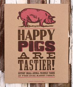 """From the seller, """"Our local pig farmers that we've had the pleasure to befriend at this summer's farmers market are struggling to keep their small family pig farm afloat amidst large corporate farms with healthy government subsidies. ALL $10 FROM THE SALE OF THIS PRINT WILL GO DIRECTLY TO THE FARM, to keep those happy porkers warm this winter."""""""