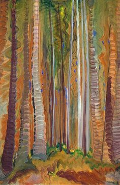 ☼ Painterly Landscape Escape ☼ landscape painting by Emily Carr, Forest (Tree Trunks), c. Canadian Painters, Canadian Artists, Emily Carr Paintings, Art Inuit, Vancouver Art Gallery, Art Chinois, Tree Trunks, Impressionist Paintings, Tree Art