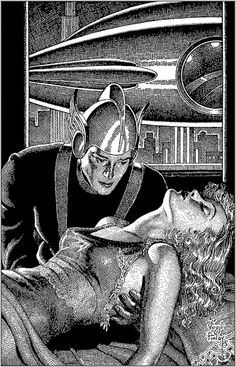 Pulp cover art by Virgil Finlay sci-fi fantasy woman dame fainted man astronaut spaceship danger