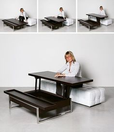 Convertible Coffee Table Desk Need to lose weight? Smart Furniture, Space Saving Furniture, Furniture Makeover, Furniture Cleaning, Office Furniture, Bedroom Furniture, Modern Furniture, Outdoor Dining Furniture, Rustic Furniture