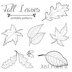 Imprimibles de hojas de otoño para colorear // Autumn leaf printable patterns