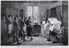 22 mai 1813 - Napoléon agenouillé devant le lit de mort de Duroc   (Dessin: Charles-Louis Short)