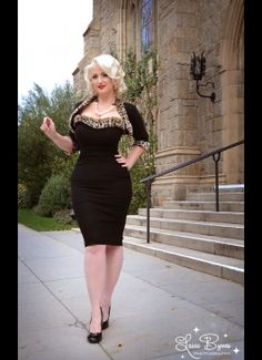 Stephanie Dress and Matching Shrug in Black with Leopard Trim  from Pinup Couture.......super cute