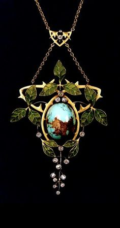 Art Nouveau 18kt Gold, Turquoise, Diamond, and Plique-a-jour Enamel Necklace, centering a turquoise cabochon surrounded by thorny vines and plique-a-jour enamel leaves, further bezel-set with old European-cut diamonds, suspended from a delicate fancy link chain.