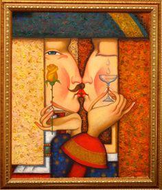 """seria """"Love stories"""", z kieliszkiem i różą. 50cmx60cm, olej, płótno, 2013"""