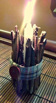 ❤ Candela d'Autunno con legnetti e cannella