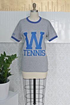 Vintage 1980s Ringer + Heather Gray Tennis Tee