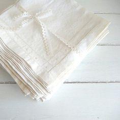 15 vintage linen napkins