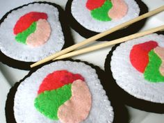 If I ever care for coasters...   Sushi Coasters  MugMats Felt Set of Four by HeartStringsHandmade, $18.00