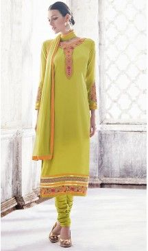 Deep Pink Color Georgette Straight Cut Churidar Suit with Dupatta | FH459671800