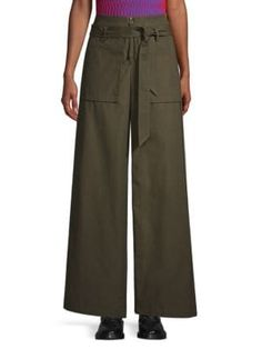 Opening Ceremony Belted Cotton Cargo Pants In Army Green Cargo Pants, Khaki Pants, Green Photo, Opening Ceremony, Army Green, World Of Fashion, Luxury Branding, Belt, Clothes For Women
