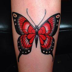 Http://Tattoomagz.Com/Red-Butterflies-Tattoos/ girly tattoos Butterfly Tattoo Cover Up, Butterfly Tattoo Meaning, Butterfly Tattoo On Shoulder, Butterfly Tattoo Designs, Red Butterfly, Shoulder Tattoo, Colorful Butterfly Tattoo, Hand Tattoos, Tattoo Henna