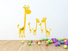 Giraffe Wall Decal Giraffes Africa Safari Tall Playroom Nature Animal Cartoon Zoo Funny Illustration Sticker Spots Yellow Brown Five 5