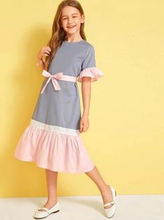 Girls Colorblock Ruffle Trim Belted Dress - Girls Colorblock Ruffle Trim Belted Dress – gagokid Source by ribeiropleni - Frocks For Girls, Dresses Kids Girl, Cute Girl Outfits, Kids Outfits, Belted Dress, The Dress, Baby Dress, Houndstooth Dress, Striped Dress