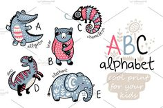 Animals alphabet by PenguinHouse on @creativemarket